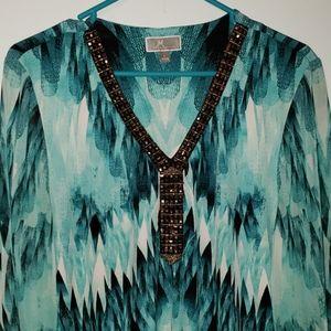 💥3 for $20💥 EUC JM Collection Teal Ombre L Shirt